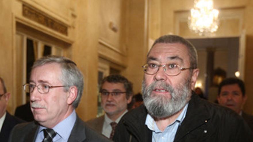 Secretarios generales de CC.OO. Y UGT, Ignacio Fernández Toxo, y Cándido Méndez