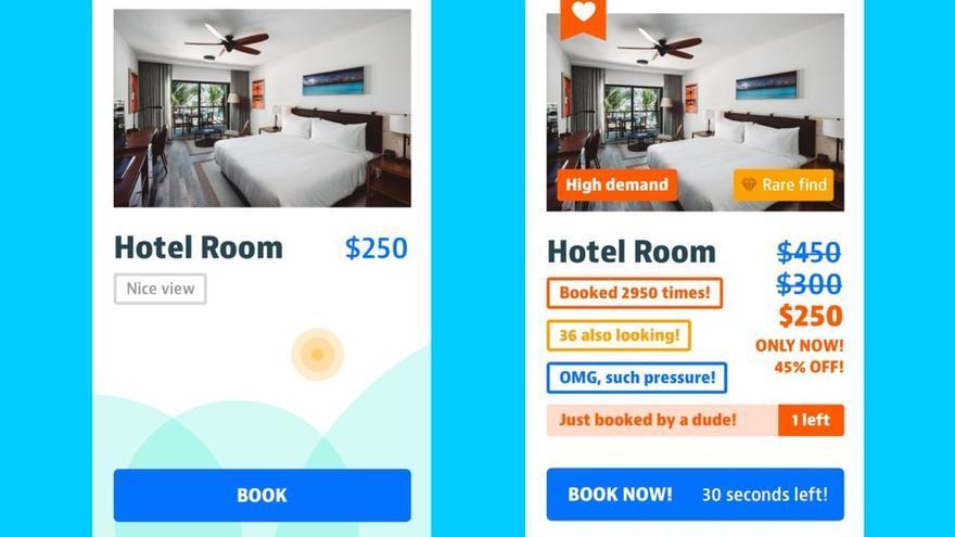 Ejemplo simplificado de los patrones oscuros para incitar a la reserva de una habitación de hotel, incluido en el informe de UXdesign.cc