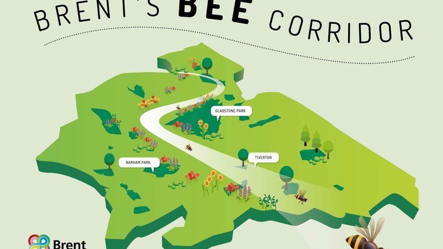 Recorrido del corredor urbano de abejas en el barrio de Brent, en Londres