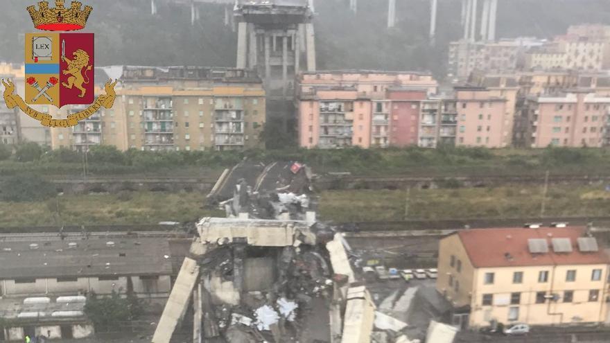 Imágenes del viaducto tras el derrumbamiento