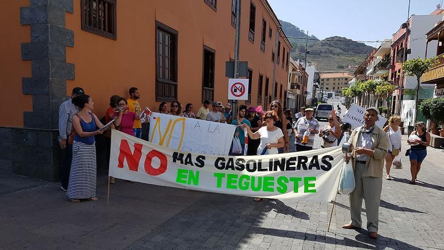 Protesta de septiembre pasado contra el proyecto de estación de servicio en la zona de Las Toscas, en Tegueste