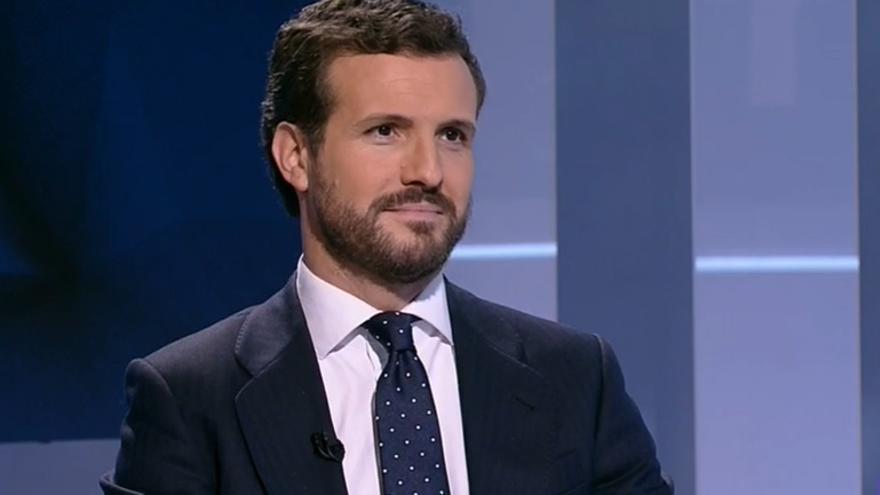 Pablo Casado, este lunes, durante su entrevista en TVE.