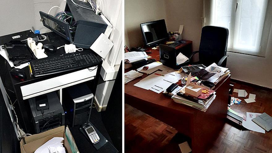 Daños en los cables del servidor y en el despacho de Gonzalo Boye
