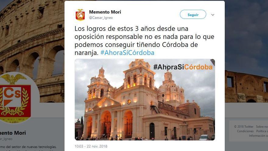 La Catedral de Córdoba, en Argentina, utilizada por cuentas de Ciudadanos en su campaña en Córdoba, Andalucía
