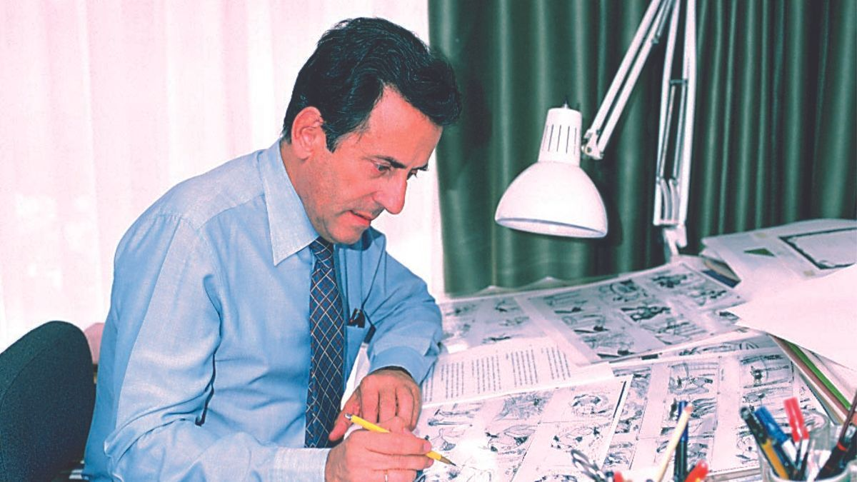 Cruz Delgado en los años ochenta, durante la producción de 'Los viajes de Gulliver'