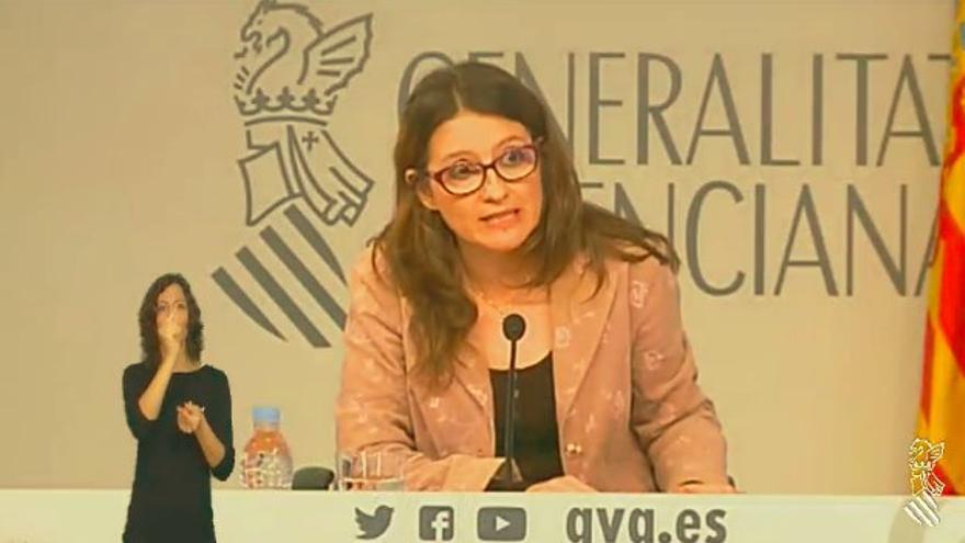 Mónica Oltra, en rueda de prensa tras el Consell.
