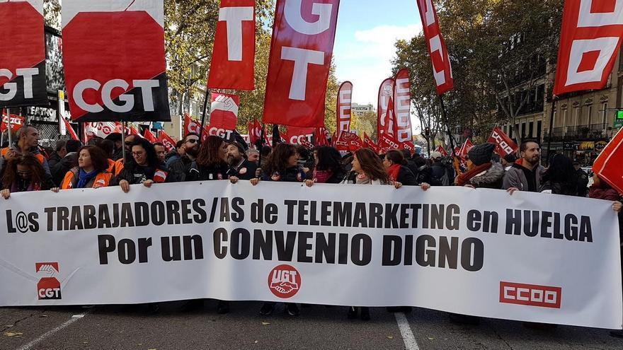 Huelga del sector del telemarketing / Foto cedida por UGT