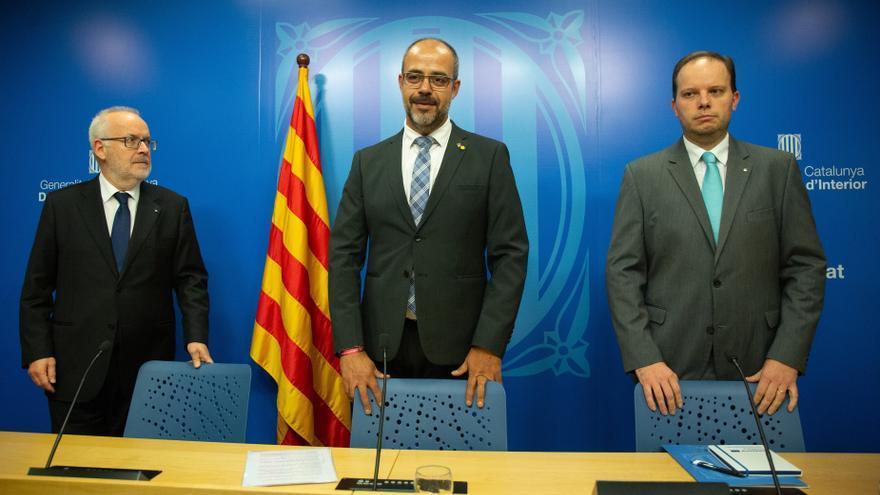 El conseller Miquel Buch, el secretario Brauli Duart y el director de Mossos Pere Ferrer.