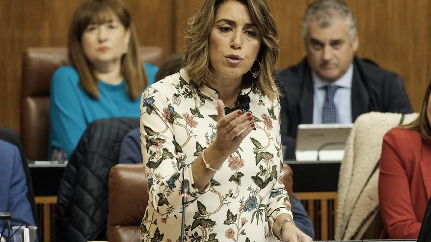 Susana Díaz, durante la sesión de control al Gobierno de Moreno en el Parlamento andaluz.