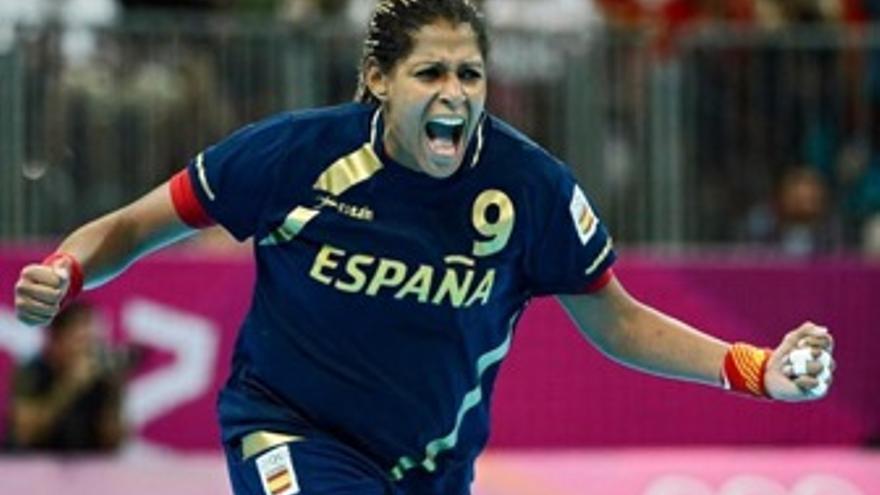 Mara Mangué celebra uno de sus goles durante el torneo. (rfebm.net)