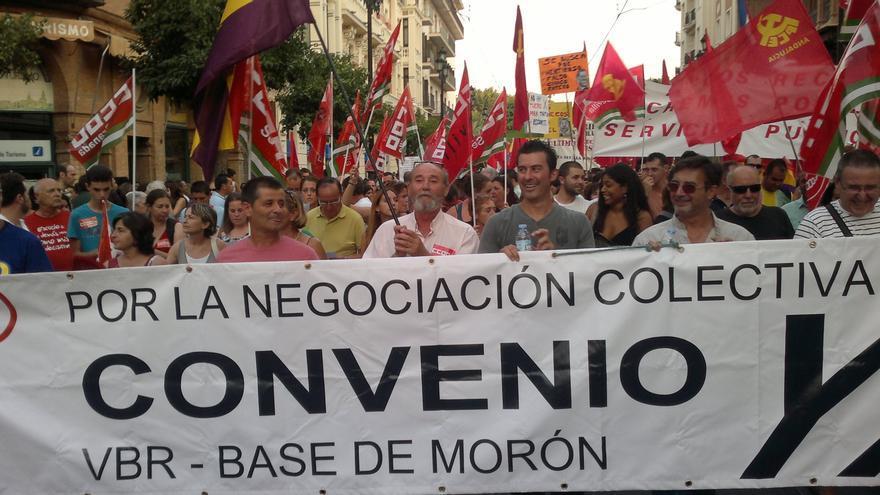 Protesta de los trabajadores de la base militar de Morón de la Frontera / Cedida por los trabajadores