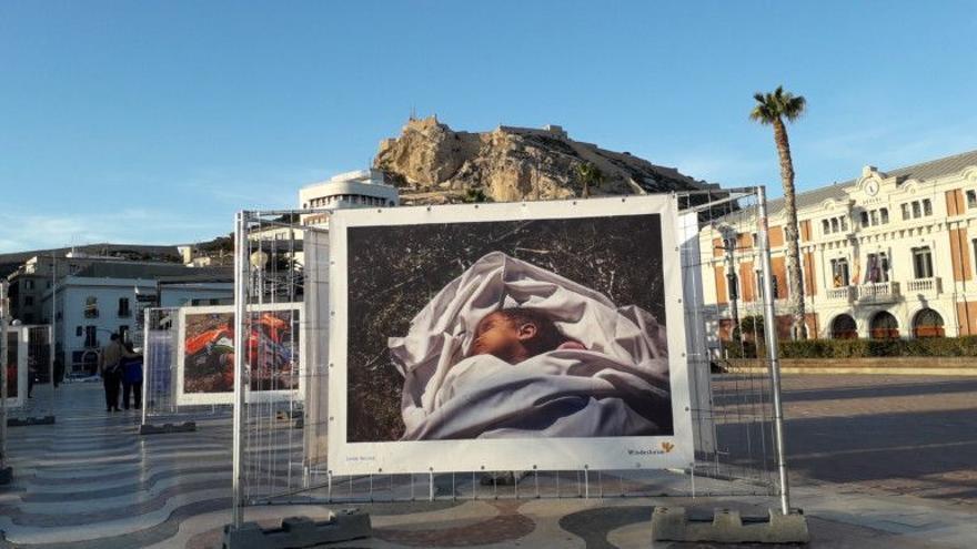 Exposición de Javier Bauluz en el puerto de Alicante.