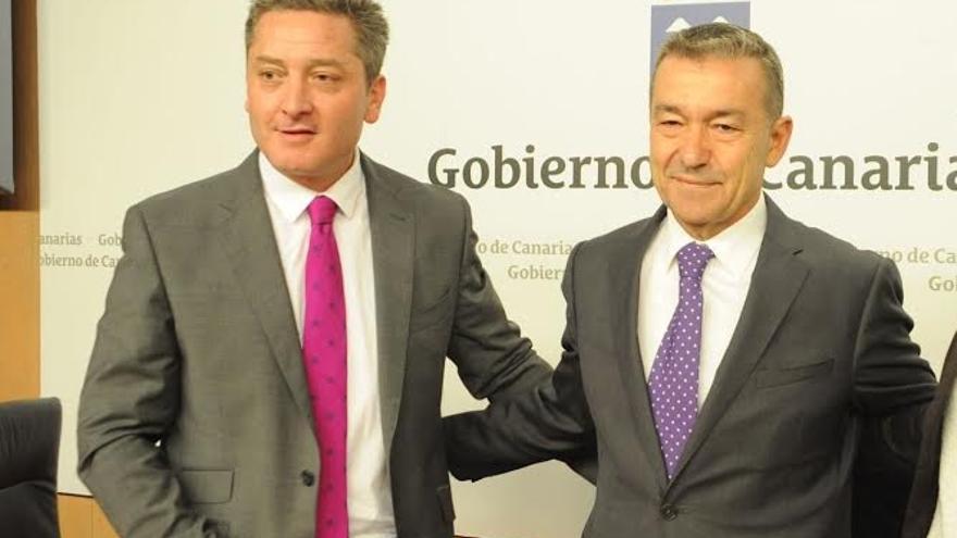 El exdirector general de la RTVC, Guillermo García y el expresidente de Canarias Paulino Rivero