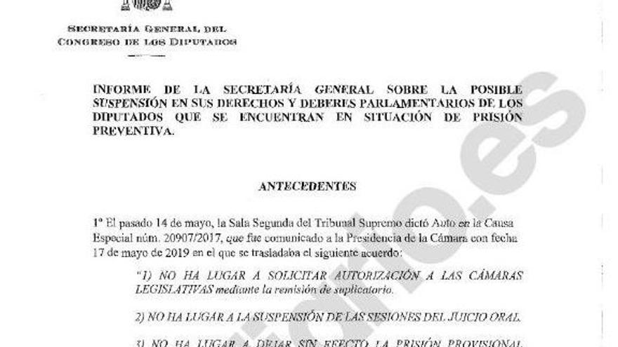 Informe de los letrados del Congreso que avala la suspensión de los diputados presos del procés