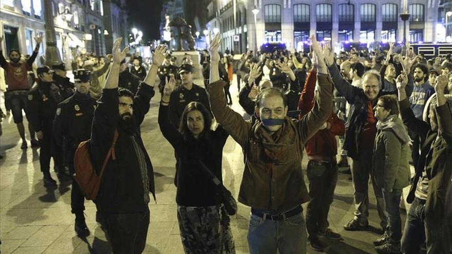 Concentración frustrada del Movimiento 15M en la Puerta del Sol de Madrid