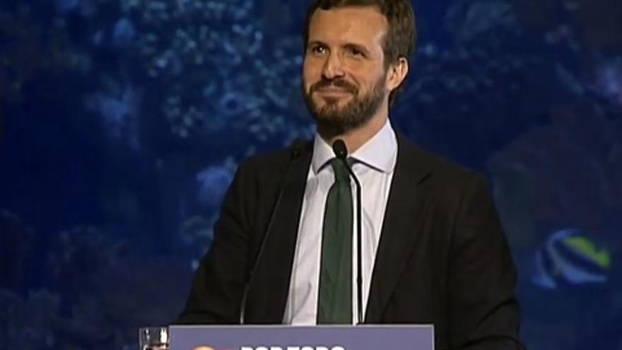 Pablo Casado, candidato del PP a la presidencia del Gobierno, en un mitin en Valencia