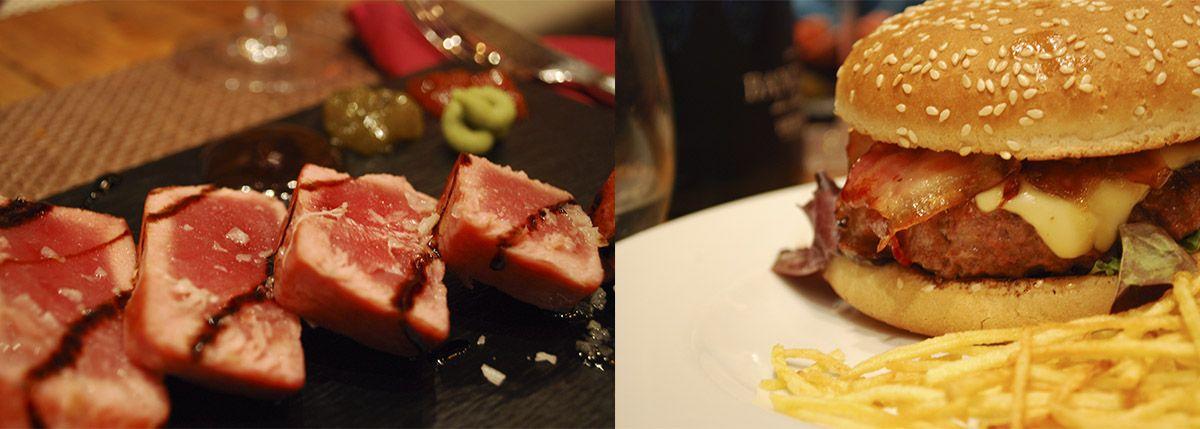 Díptico tataki de atún de almadraba con mermelada de pimientos y wasabi y hamburguesa mandilete_Malasaña a mordiscos_El Mandil