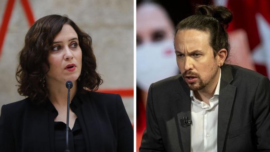Isabel Díaz Ayuso y Pablo Iglesias.