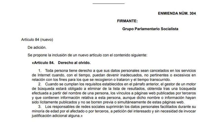 Enmienda del PSOE al Proyecto de Ley Orgánica de Protección de Datos de Carácter Personal.