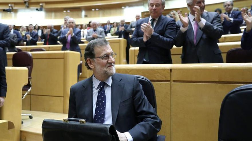 Mariano Rajoy hoy en el Senado.