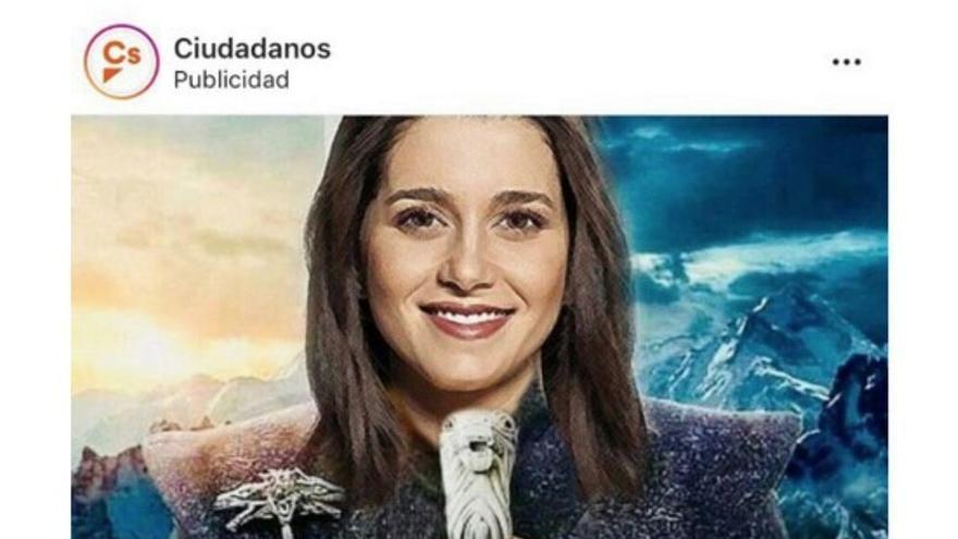 Ciudadanos lanza un fotomontaje con Inés Arrimadas como la Khaleesi de Juego de Tronos
