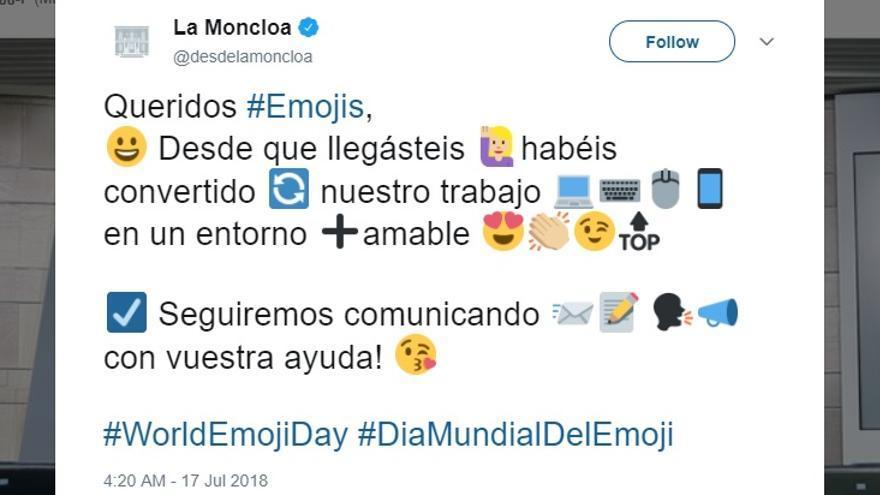 El tuit borrado por la cuenta de Moncloa en Twitter