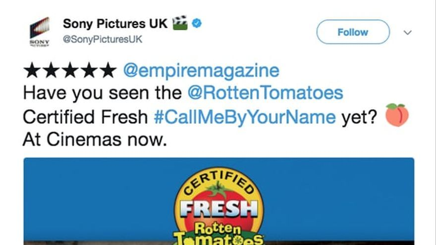 Tuit de Sony Pictures promocionando 'Call me by your name'