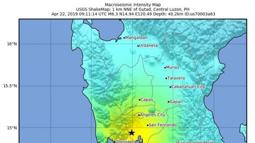 Un terremoto de magnitud 6,3 sacude el norte de Filipinas