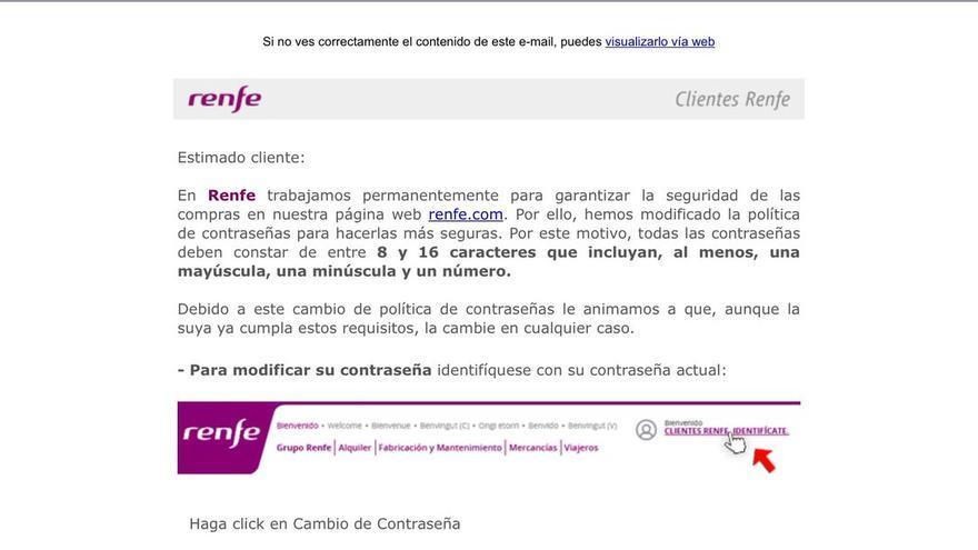 Mensaje de Renfe a sus usuarios, solicitándoles el cambio de contaseña.