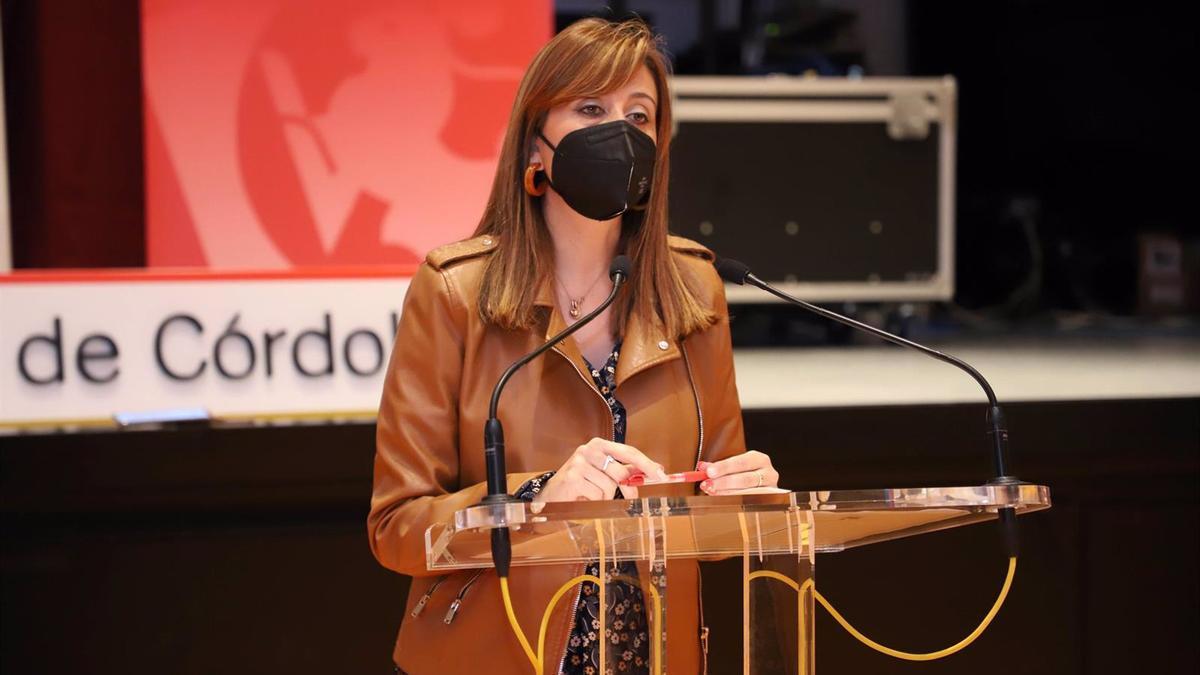La delegada de Hacienda y Gobierno Interior de la institución provincial, Felisa Cañete, en rueda de prensa.