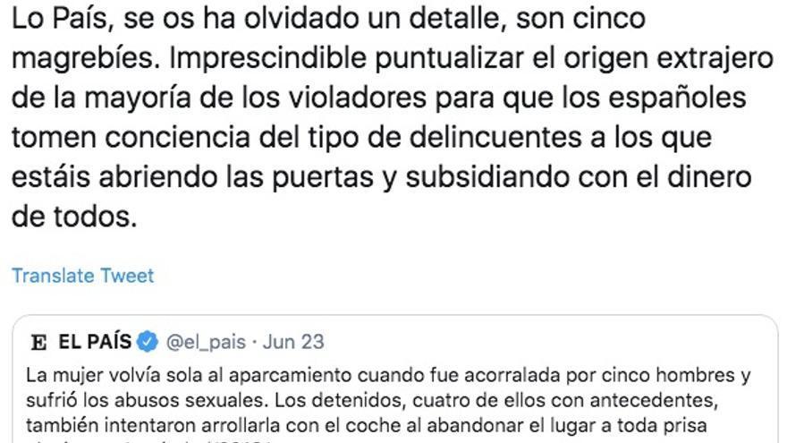 Tuit de la cuenta oficial de Vox @voxnoticias_es