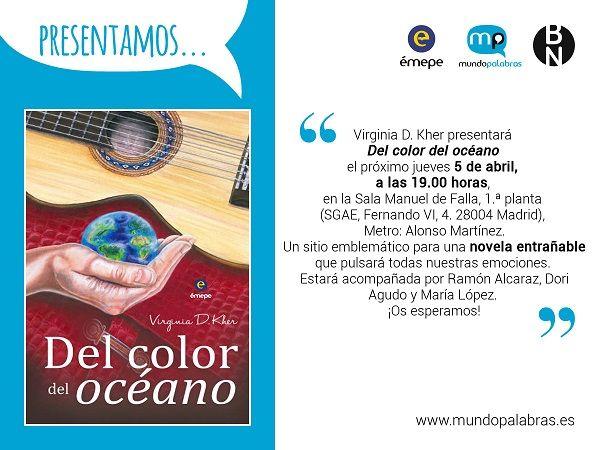 """Invitación presentación novela """"Del color del océano"""" en la SGAE"""