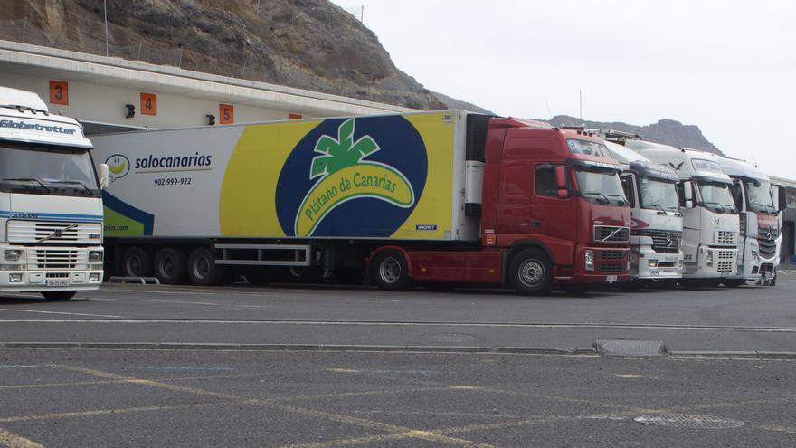 Camiones frigoríficos en el Puesto de Inspección Fronteriza (PIF) del puerto de la capital tinerfeña