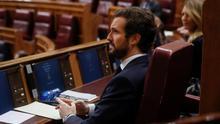 El líder del PP, Pablo Casado, durante la sesión de control al Ejecutivo