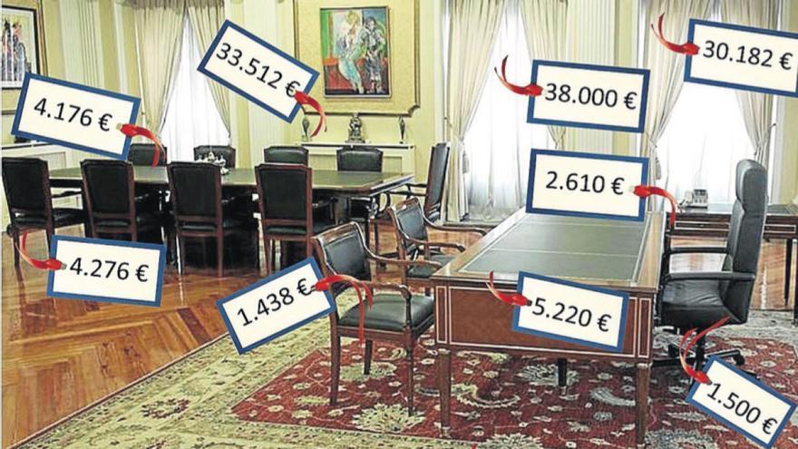 Montaje distribuido en 2011 por el Ayuntamiento de Vigo con el costo en 2006 de los muebles del despacho de Corina Porro