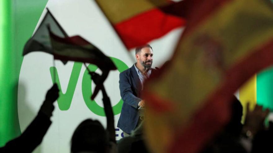 El presidente de Vox, Santiago Abascal, durante un acto en Alboraya (Valencia)