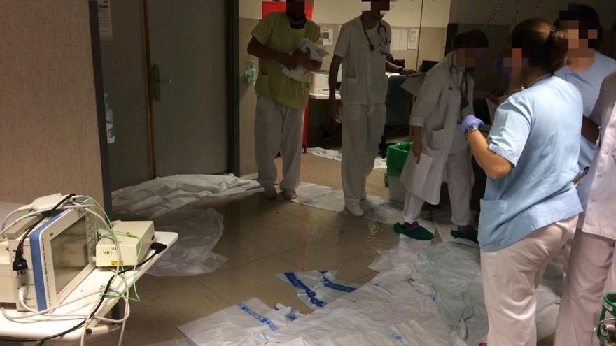 Inundaciones en el hospital de La Paz que obligan al traslado de varios pacientes a otros centros. / @Urgenciaslapaz