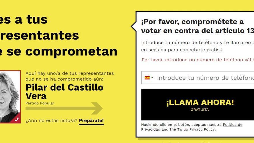 Web de la campaña contra la directiva europea de copyright que anima a los ciudadanos a ponerse en contacto con los eurodiputados para mostrar su rechazo al texto.