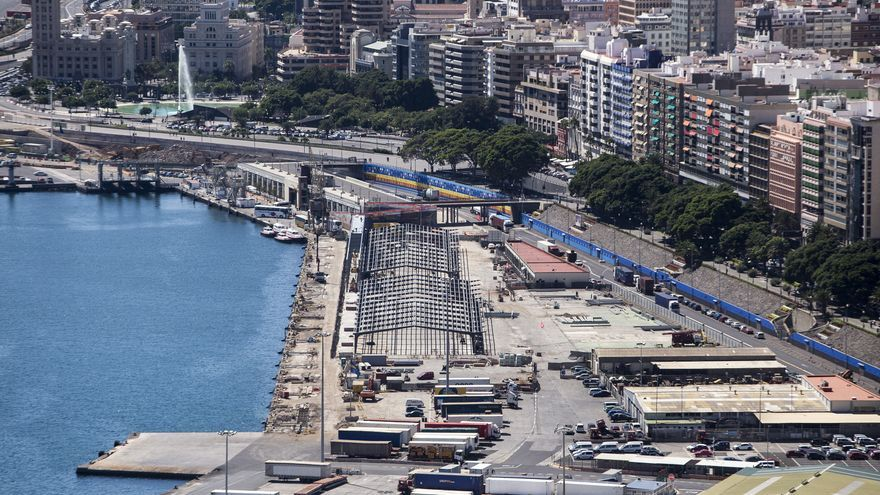 Imagen de la construcción de la estación de cruceros del puerto de Santa Cruz de Tenerife