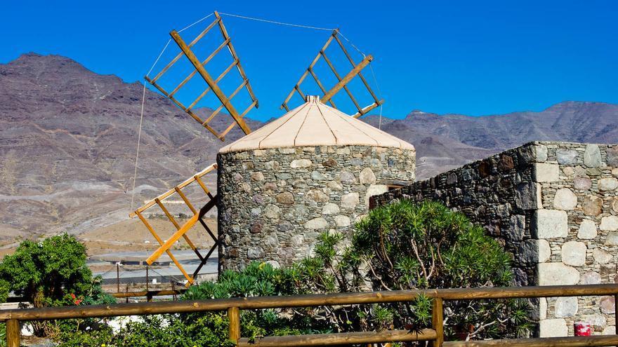 Antiguo molino de viento en el municipio de La Aldea. VA