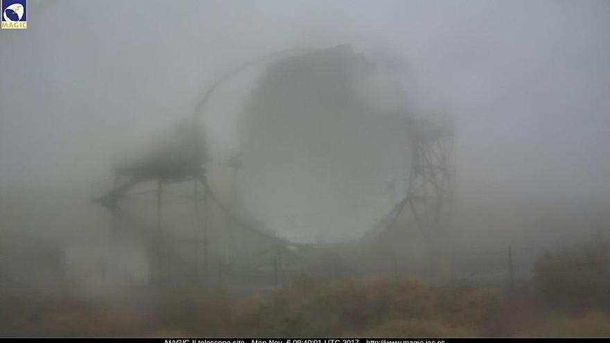 Entorno del Observatorio del Roque de Los Muchachos, este lunes. Imagen captada de la webcam de los Magic.