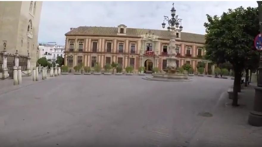 Plaza del Triunfo en el Domingo de Ramos 2020 /foto: Luis Serrano