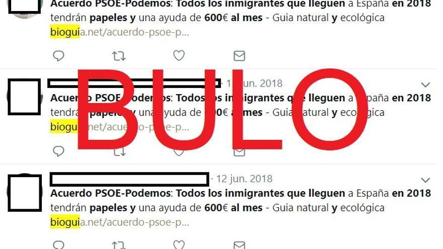El bulo del acuerdo PSOE-Podemos para dar a todos los inmigrantes que lleguen en 2018 los papeles y 600 euros al mes