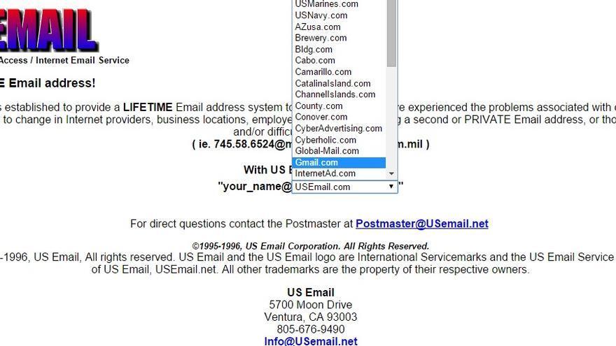 US Email era la empresa que realmente tenía el dominio gmail.com