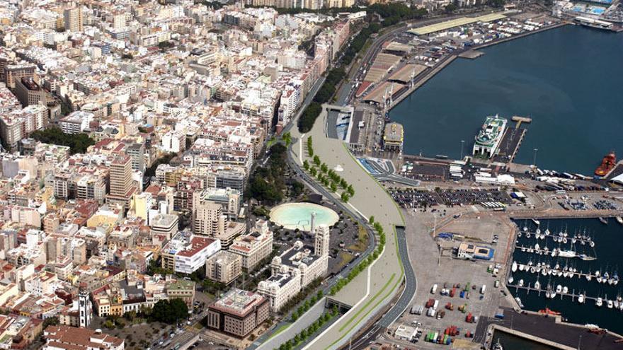 Imagen aérea de la vía litoral de Santa Cruz de Tenerife.