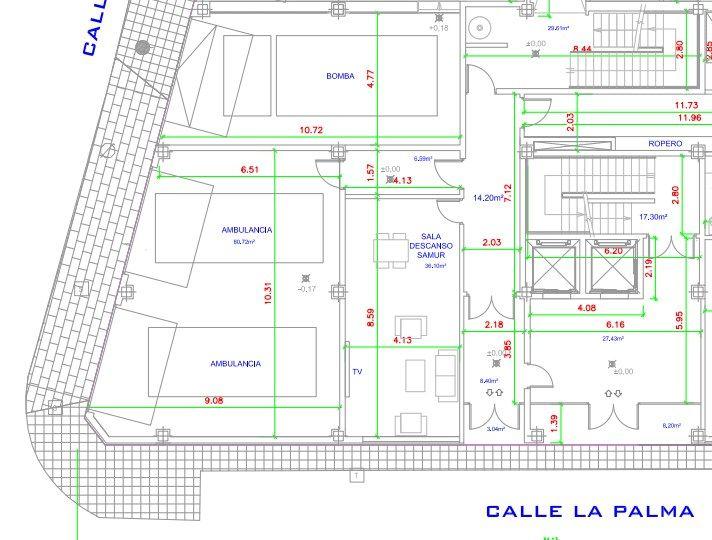 Detalle de la planta baja del futuro parque de bomberos