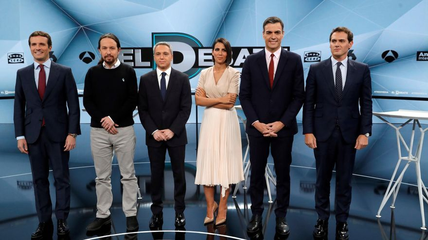 Los candidatos a presidir el Gobierno de España tras las elecciones generales, Pablo Casado; Pablo Iglesias; Pedro Sánchez y Albert Rivera