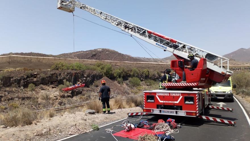 Intervención de los bomberos del parque de San Miguel, este miércoles