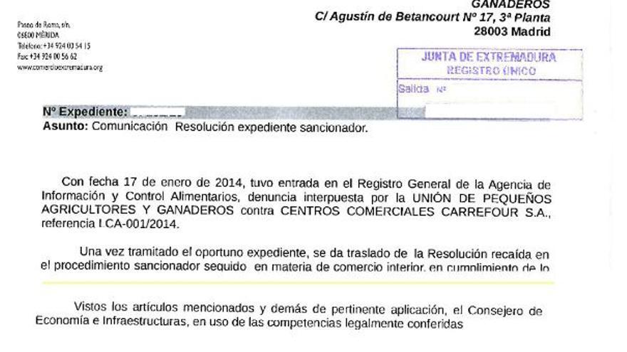 Junta Extremadura multa Carrefour aceite oliva perdidas
