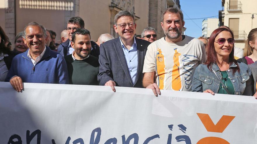 El president Ximo Puig y el conseller de Educación Vicent Marzà en la trobada d'escoles en valencià de Guadassuar